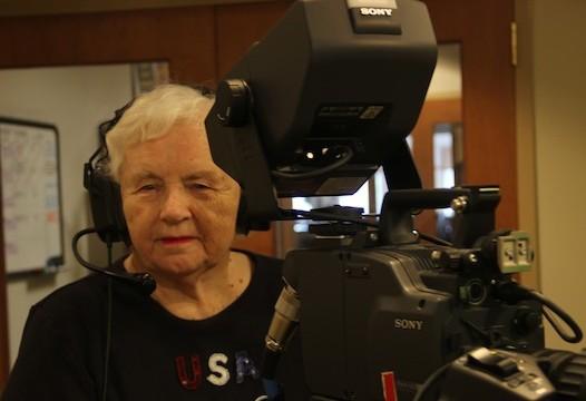 Doris Sinofsky behind a camera