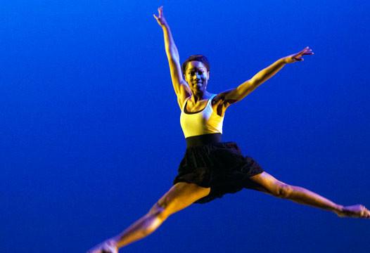 Wilbrun jumps in a dance performance