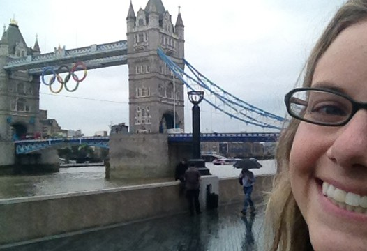 Susie Salem in front of Olympics sign in London
