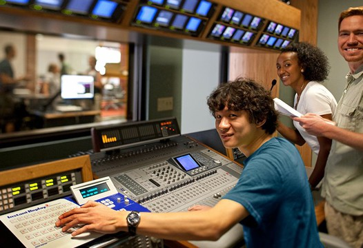 Students at work in broadcast lab