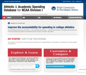 Graduate Student final project screen shot, NCAA Division