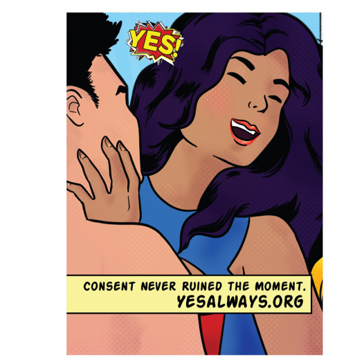 Yes always image. Cartoon of two people giving consent before sexual intercourse.