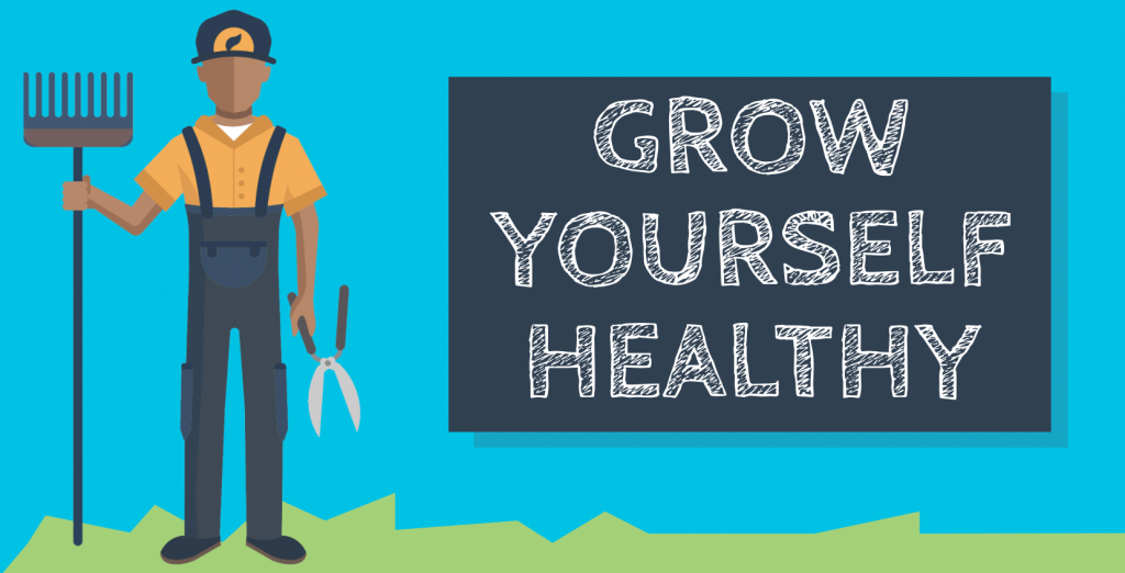 Illustration of a farmer with the text Grow Yourself Healthy