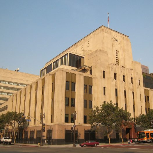 Los Angeles Times Building — in Downtown Los Angeles, California. The Art Deco building was designed by Gordon Kaufmann.