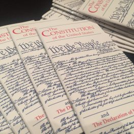 A set of Constitution pamphlets at Sundance Books on Feb. 20, 2017, during the State of the First Amendment event.