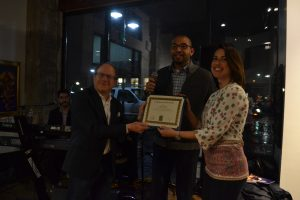 City Councilmember Oscar Delgado presents Dean Al Stavitsky and Noticiero Mòvil Director Vanessa Vancour with a Certifiace of Achievement at the Somos Nevada Launch party.