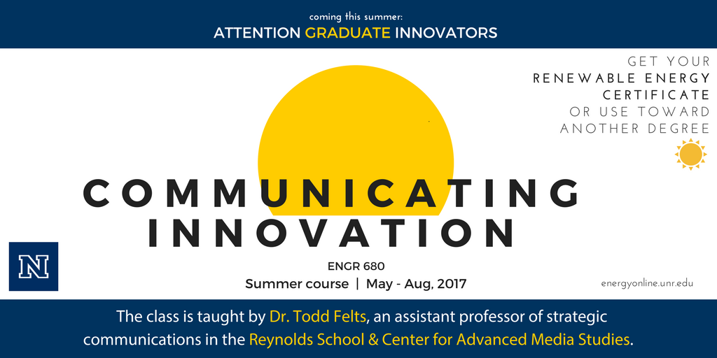 Attn: Graduate Students, Coming This Summer – Communicating Innovation