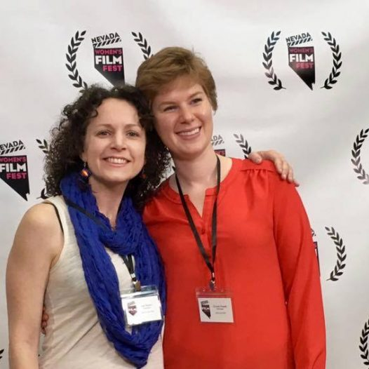 RSJ Professor Kari Barber poses with RSJ Grad Crystal Powell at the Nevada Women's Film Festival.
