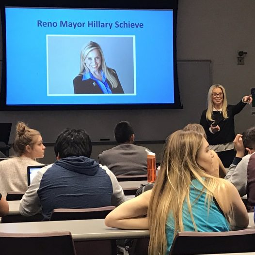 Mayor Hillary Schieve speaking to an advanced reporting class,
