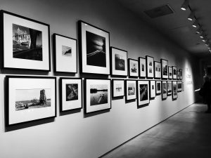 Photos line the wall at the Nevada Museum of Art.
