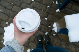 A cup of coffee on a cold winter morning.