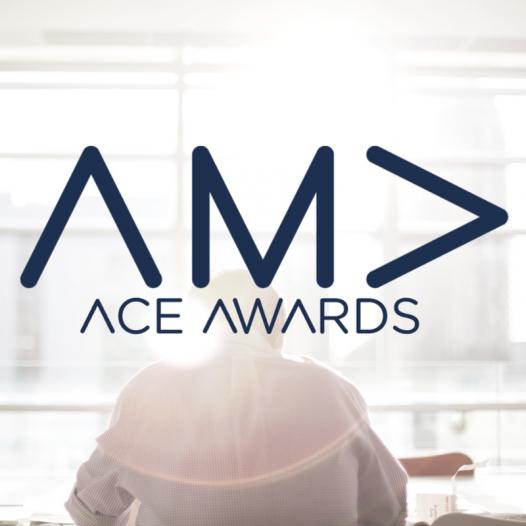 AMA Ace Awards Logo - a man sitting at a desk