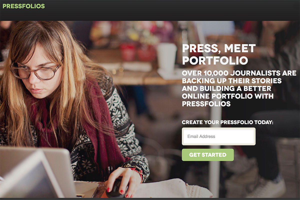 Pressfolios website screenshot, login portal