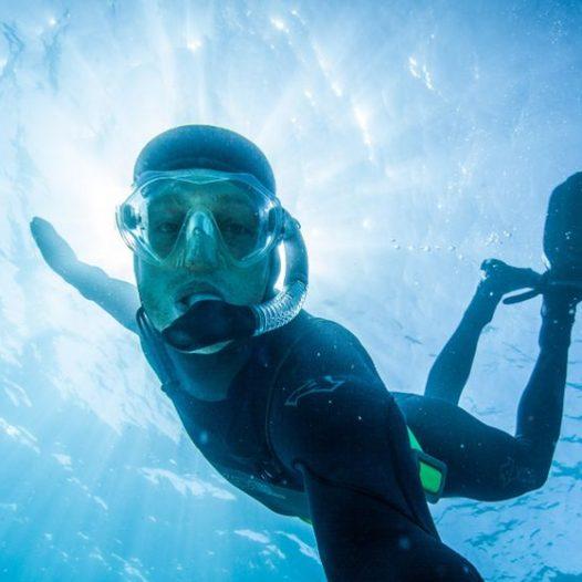 Dylan Silver scuba diving in Lake Tahoe