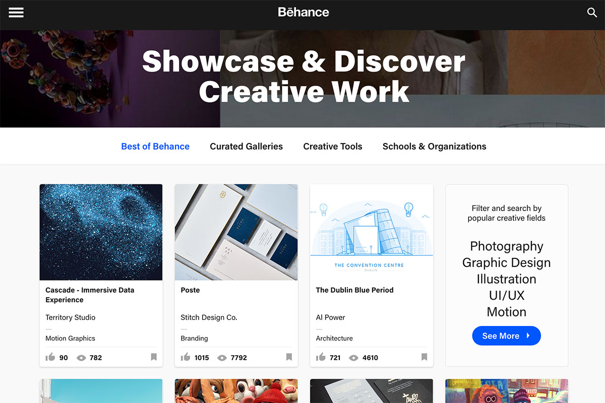 Behance, portfolio website screenshot