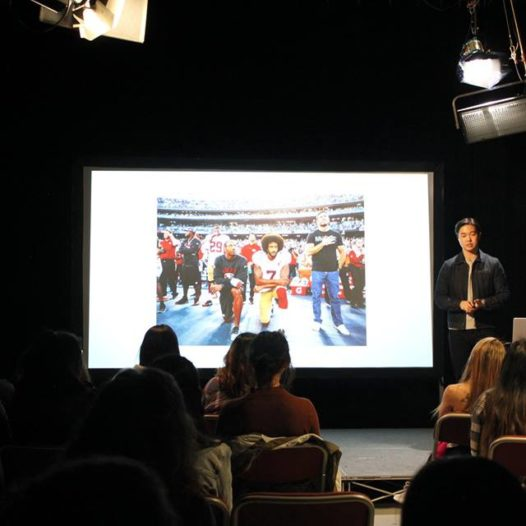 Will Yu talks to students about underrepresentation of Asian-Americans at his talk at the Reynolds School.