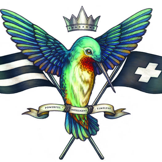 Drawing of bird with banner that reads powerful, intelligent and timeless