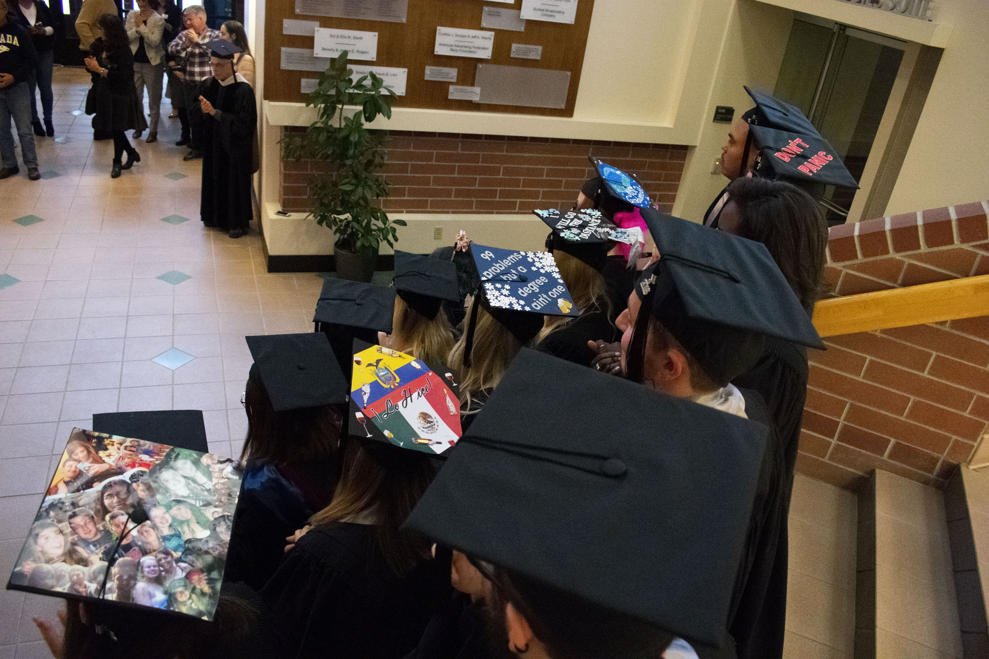 A view of students' graduation caps.