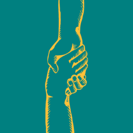 Illustration of two hands gripping each other.