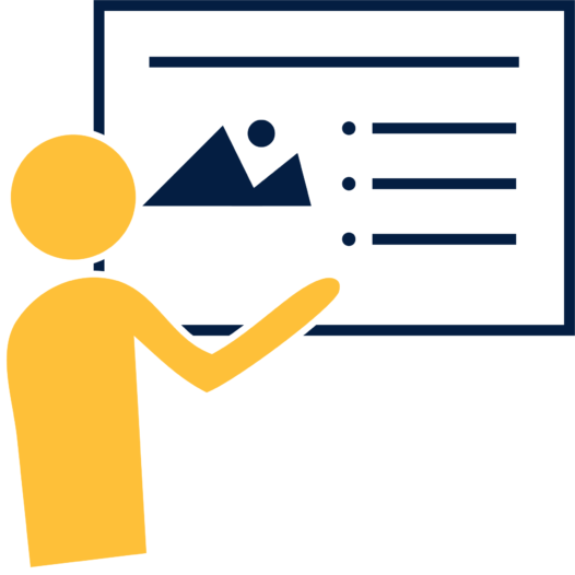 Icon of a person pointing to a graph